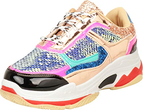 Cambridge Select Women's Retro 90s Ugly Dad Lace-Up Chunky Platform Fashion Sneaker,6.5 B(M) US,Gold Metallic