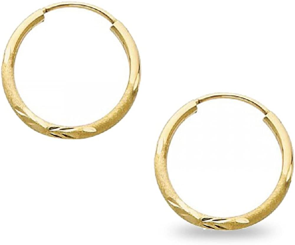 Solid 14k Opening large release sale Yellow Gold Round Endless Earrings Cut Hoop Popular shop is the lowest price challenge Diamond De