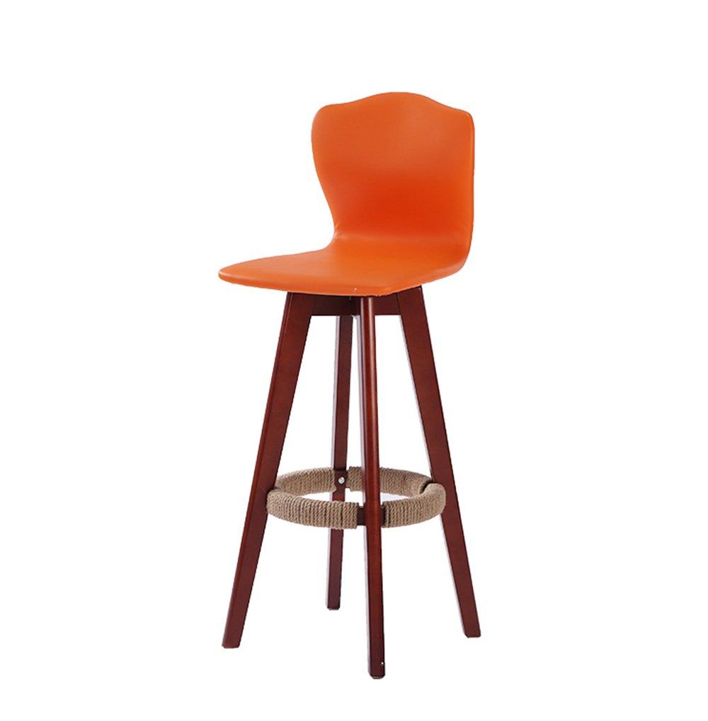 バースツールソリッドウッドバーの椅子ハイコンチネンタルチェアホーム高回転バースツール48 * 71センチメートル(多色) (色 : オレンジ) B07D8JKS5W オレンジ オレンジ
