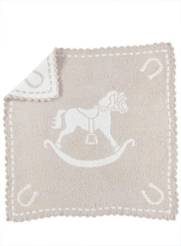- Barefoot Dreams CozyChic Scalloped Baby Receiving Blanket - Stone & Rocking Horse