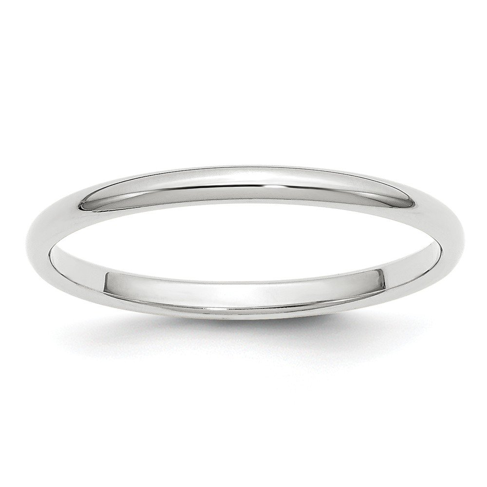 Jewelry Stores Network Solid 14k White Gold 2 mm Classic Rounded Wedding Band Ring