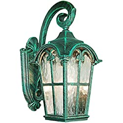 eTopLighting Victorian Collection Verde Green Finish Exterior Outdoor Lantern Light with Stamped Glass, Wall APL1086