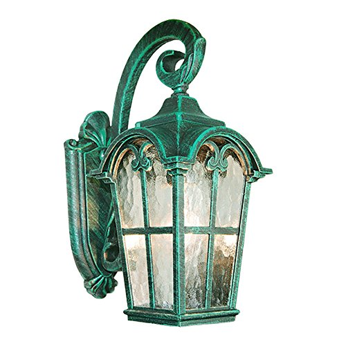 eTopLighting Victorian Collection Verde Green Finish Exterior Outdoor Lantern Light with Stamped Glass, Wall (Green Glass Wall)