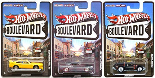 Hot Wheels Boulevard 3 Car Set - 1978 Ford Mustang Plymouth AAR Cuda & AMC Packin' Pacer Legends & Underdogs cars in PROTECTIVE CASES