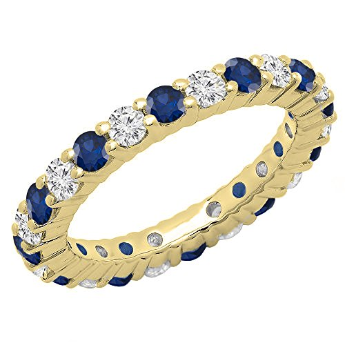 Dazzlingrock Collection 14K Round Blue Sapphire & White Diamond Ladies Eternity Wedding Band, Yellow Gold, Size 7 ()