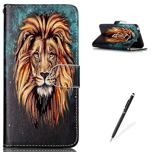 Lions Full Body (LG G6 Premium PU Leather Stand Wallet Case,MAGQI Flip Book Style Shell Cute Animal Cartoon Painting with [Free 2 in 1 Stylus] Full Body Protective Cover - Lion)