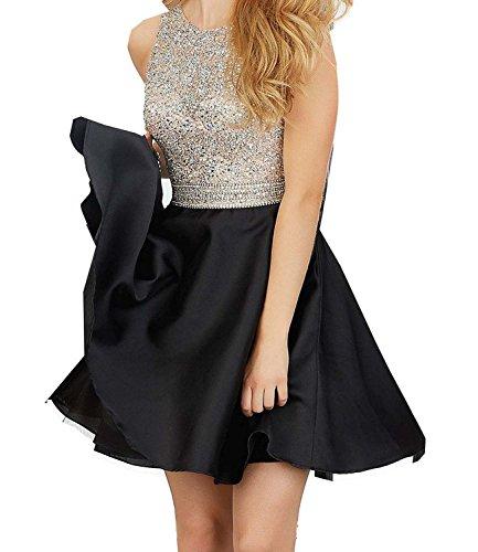 Miya 2016 Short Beading Open Back Satin Homecoming Dress Prom Gowns MY025 Black (20 Plus Homecoming Dresses)