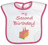 Raindrops My Second Birthday Screen Printed Bib, Strawberry/Hot Pink