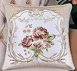 European-style pillow Feather silk cushions sofa bed hug pillowcase embroidered-A 60x60cm(24x24inch)VersionB