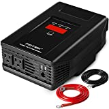 POTEK 1000W Power Inverter Dual AC Outlets and Dual USB Charging Ports DC 12V to 110V AC Car Converter with Digital Display for Blenders, vacuums, power tools