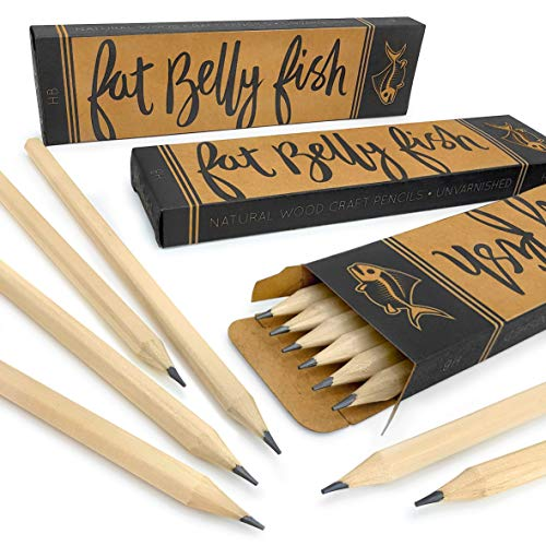 Fat Belly Fish - Natural Wood Unvarnished Craft Pencils - HB - Pack of 36 ()