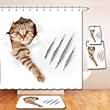 Nalahome Bath Suit: Showercurtain Bathrug Bathtowel Handtowel Animal Funny Cat in Wallpaper Hole with Claw Scratches Playful Kitten Cute Pet Picture Brown White