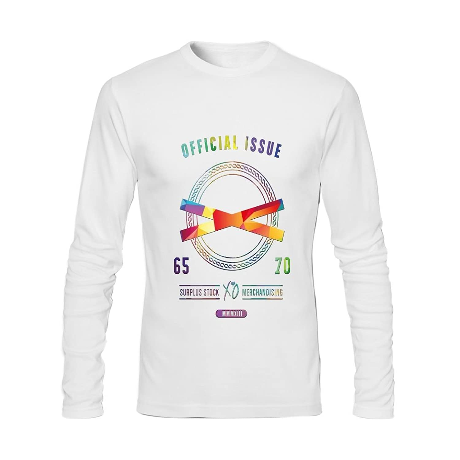 Anydover Official Issue Mens 100% Cotton Crew Neck Long Sleeve T-Shirt M White
