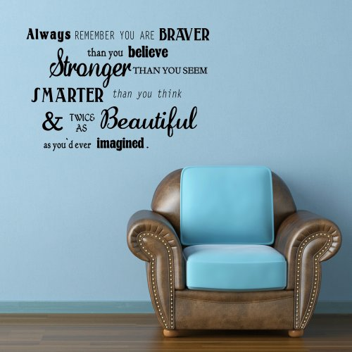 Always remember you are braver than you believe¡Winnie The Pooh Quote Lettering Art Vinyl Wall Decal (Black, Small)