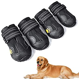 XSY&G Dog Boots,Waterproof Dog Shoes,Dog Booties with Reflective Velcro Rugged Anti-Slip Sole and Skid-Proof,Outdoor Dog Shoes for Medium Dogs 4Ps-Size3