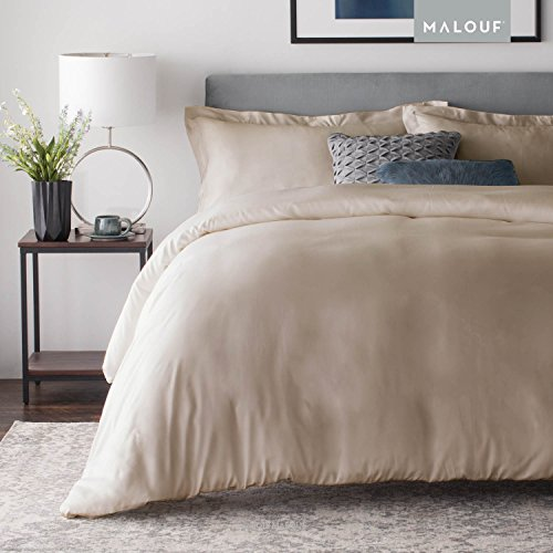 MALOUF WOVEN Rayon from Bamboo Duvet Set - Best Fitting Duvet Cover - 8 Corner and Side Loops - Queen - (Loop Fitting)