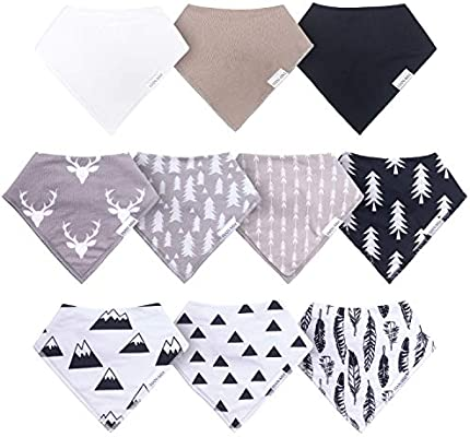 HAN-MM 10-Pack Baby Bandana Drool Bibs for Drooling and Teething,Baby Bibs for Neutral Unisex Organic Cotton and Super Absorbent Boys Girls
