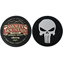 Smokey Mountain Herbal Chew or Snuff - 1 Can - Includes DC Skin Can Cover (Cherry) (Punisher Skin)