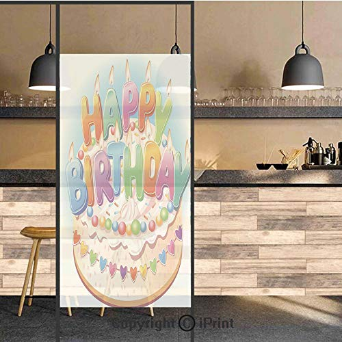 3D Decorative Privacy Window Films,Cartoon Happy Birthday Party Image Cake Candles Hearts Print,No-Glue Self Static Cling Glass Film for Home Bedroom Bathroom Kitchen Office 24x71 Inch -