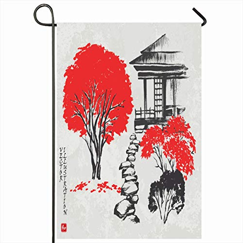 Ahawoso Outdoor Garden Flag 12x18 Inches Pagoda Red Artistic House Autumn Garden Footpath Asia Vintage Watercolor Asian Brush Design Seasonal Double Sides House Yard Sign