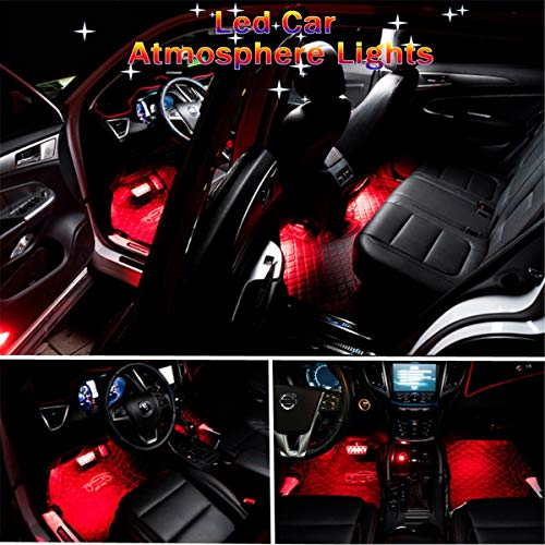 Car LED Strip Light, Auto Parts Club 4pcs 36 LED Car Interior Lights Under Dash Lighting Waterproof Kit,Atmosphere Neon Lights Strip for Car,DC 12V(Red)