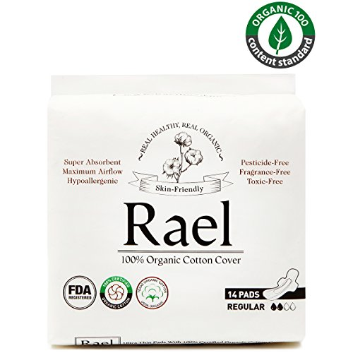 Rael 100% Organic Cotton Menstrual Regular Pads, Ultra Thin Natural Sanitary Napkins with Wings