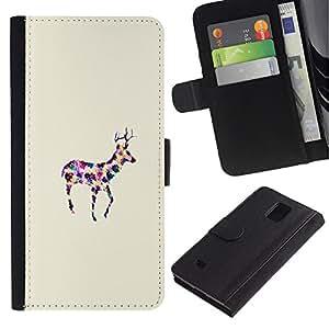 UberTech / Samsung Galaxy Note 4 SM-N910 / Deer Minimalist Colorful Watercolor Reindeer / Cuero PU Delgado caso Billetera cubierta Shell Armor Funda Case Cover Wallet Credit Card