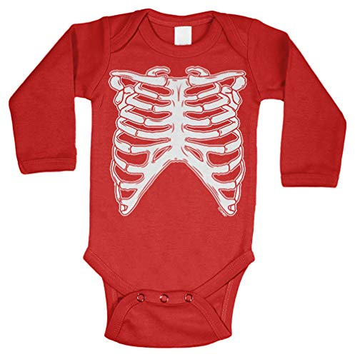 Skeleton Ribcage - Halloween Costume Long Sleeve Bodysuit (Red, 6 Months) ()