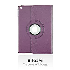 OnlineBestDigital - PU Leather 360 Degree Rotating Cover Case Stand with Auto Sleep / Wake Function for Apple iPad Air - Purple