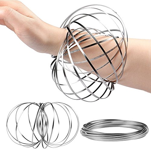 The Safety Zone Flow Ring Kinetic 3D Spring Toy Sculpture Ring Game Toy For Kids Boys And Girl Spinner Ring Arm Slinkey Toy ,Rave Festival Accessories (silvery)