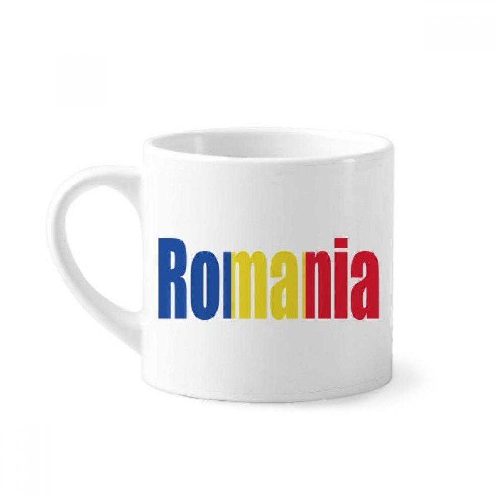 Romania Country Flag Name Mini Coffee Mug White Pottery Ceramic Cup With Handle 6oz Gift