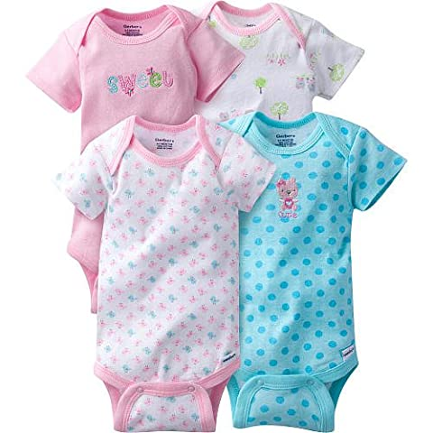 Gerber Baby Girls' 4pk Embroidered Bodysuits (Onesies) - Sweet Cutie (0-3 Months) - Gerber Toddler Bib
