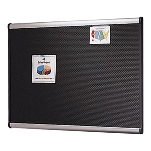 Quartet Prestige Black Embossed Foam Board-Bulletin Board, Foam, 6'x4', Aluminum