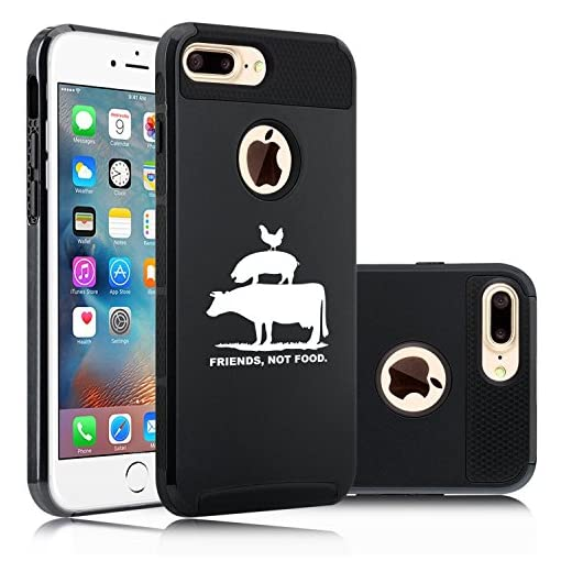 Apple-iPhone-7-Plus-Shockproof-Impact-Hard-Soft-Case-Cover-Friends-Not-Food-Vegan-Farm-Animal-Rights
