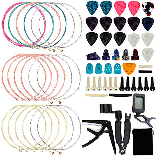 Augshy 65 PCS Guitar Tool Changing Accessories Kit Including Guitar Strings, Guitar Picks, Pick Holder, Capo, String Winder&Cutter, Thumb Finger Picks, Tuner, Guitar Bones, and Storage Bag for Beginne