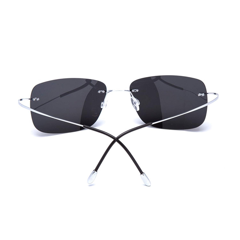 HONEY Ultraleichte 90% Titan Sonnenbrille - Polarisierte rahmenlose Fahrbrille - Unisex ( Farbe : Silver/black ash ) rD7m2