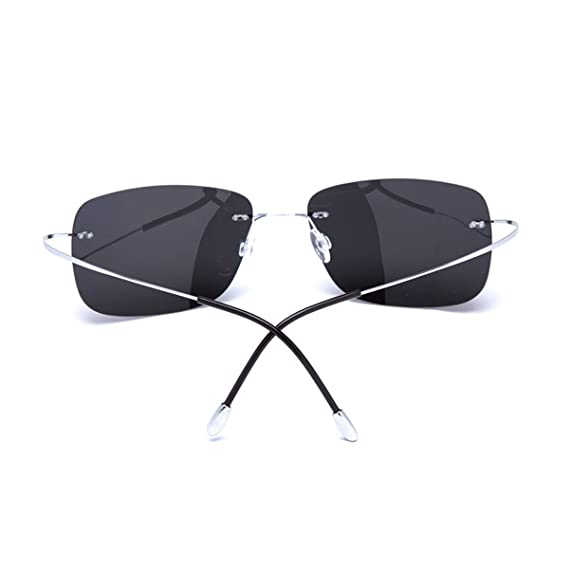 60f8e6f4224 Amazon.com  Zando Rimless Lens Titanium Unbreakable Frame Polarized  Lightweight Sunglasses Yellow  Clothing