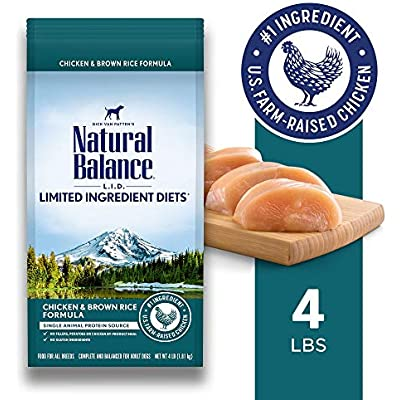 Natural Balance L.I.D. Limited Ingredient Diets Dry Dog Food, 4 Pounds, Chicken & Brown Rice Formula