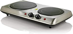 Ovente 6.5 & 7 Inch Double Hot Plate Electric Glass Infrared Stove, 1700 Watt Portable Cooktop Countertop Kitchen Burner with Temperature Control & Stainless Steel Base Easy to Clean, Silver BGI102S