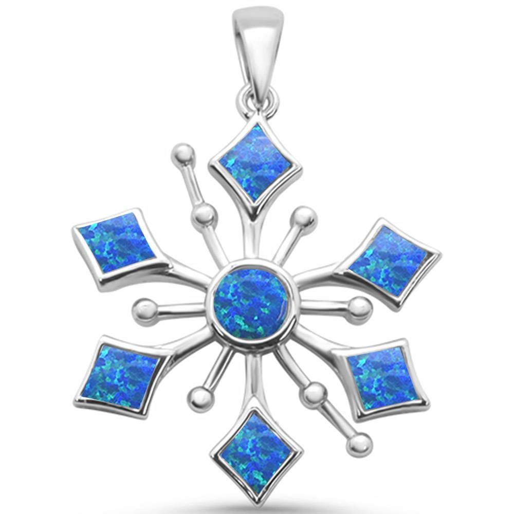 Princess Kylie Round Blue Synthetic Opal Snowflake Design Pendant Sterling Silver
