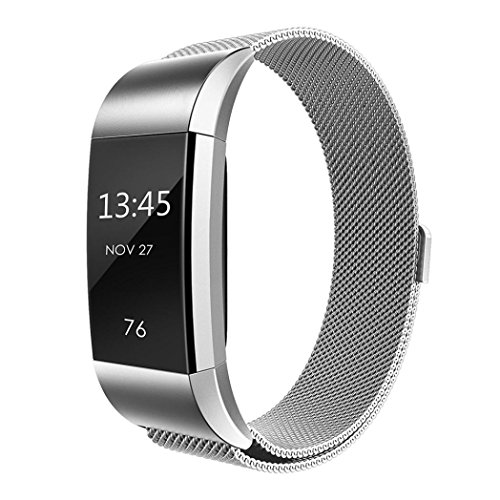 Men Watch Band, Winhurn Milanese Stainless Steel Strap Bracelet For Fitbit Charge 2