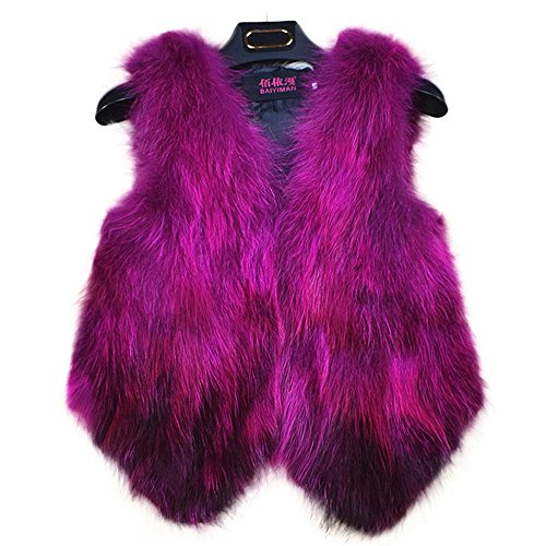 Manka Vesa Womens Fur Vest Real Fur Waistcoat Short Sleeveless Coat Rose Red