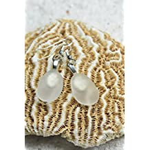 Custom Pair of Genuine Surf Tumbled Dangling Frosted White Sea Glass Earrings - (1 Set)