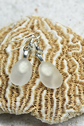Genuine White Sea Glass (Custom Pair of Genuine Surf Tumbled Dangling Frosted White Sea Glass Earrings - (1 Set))