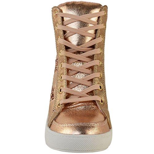 Mote Tørste Kvinner Skjult Kile Snøring Høyt Størrelse Top Sneakers Glitter Stjerne Sko Rose Gull Metallic