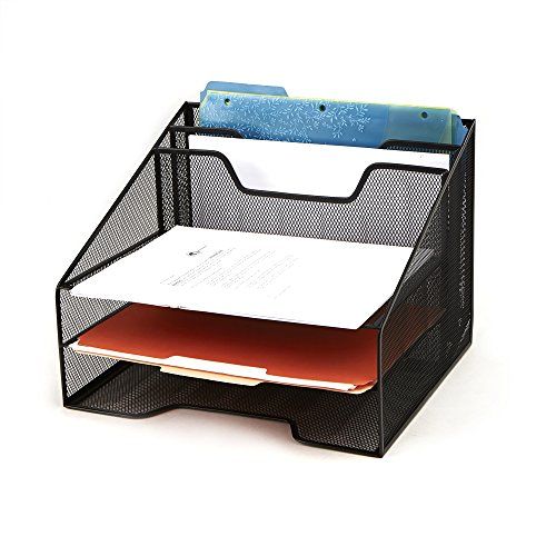 (Mind Reader Mesh Desk Organizer 5 Trays Desktop Document Letter Tray for Folders, Mail, Stationary, Desk Accessories, Black)