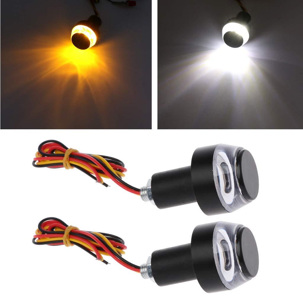 Ogquaton 1Pair LED Handlebar Motorcycle Turn Signal Light Amber Indicator Flasher Blinker Grip Durable and Practical