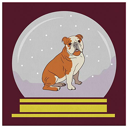 Weezag Snow Globe Bulldog Square Decorative Wall Canvas Print, Funny Gifts for Dog Lovers, 40
