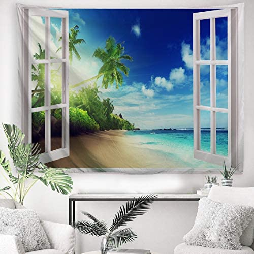 PROCIDA Home Tapestry Wall Hanging Nature Art Polyester Fabric Coast Beach Theme, Wall Decor for Dorm Room, Bedroom, Nail Included – 60 W x 40 L 230cmx180cm – The Beach Out of The Window