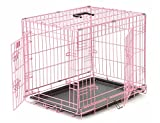 Cheap Levpet 36 Inches Double-Door Pet Cage Folding Dog Cat cage Crate Kennel ABS Tray Pink